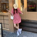 Dress Autumn 2020 Rose Pink Average size Mid length dress singleton  three quarter sleeve commute V-neck Loose waist Solid color Socket other puff sleeve Others 18-24 years old Type H Other / other Korean version Button 51% (inclusive) - 70% (inclusive) other cotton