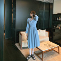 Dress Autumn 2020 wathet S,M,L Mid length dress singleton  Long sleeves commute Polo collar High waist Solid color Socket Big swing puff sleeve Others 18-24 years old Type H Other / other Korean version fold 31% (inclusive) - 50% (inclusive) other cotton