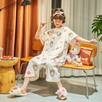 Pajamas / housewear set female Other / other M,L,XL,XXL CY-21147#,CY-21150#,CY-21151#,CY-21152#,CY-21153#,CY-21154#,CY-21155#,CY-21156#,CY-21158#,CY-21159#,CY-21160#,CY-21161#,CY-21163#,CY-21164#,CY-21166#,CY-21168#,CY-21169# cotton Short sleeve Sweet pajamas summer Thin money Crew neck shorts Socket