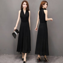 Dress Summer 2021 black S,M,L,XL,2XL longuette singleton  Sleeveless commute V-neck middle-waisted Solid color zipper A-line skirt Hanging neck style Type A shanggao Retro Fold, off shoulder 8A576 More than 95% Chiffon polyester fiber