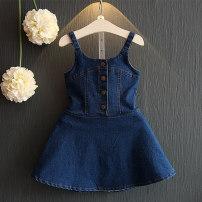 Dress female Noel Other 100% summer princess Skirt / vest Solid color Denim Denim skirt Class B 12 months, 18 months, 2 years old, 3 years old, 4 years old, 5 years old, 6 years old, 7 years old