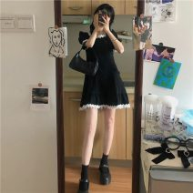 Dress Summer 2021 black S,M,L Short skirt singleton  Short sleeve commute square neck High waist Solid color Socket A-line skirt routine Others 18-24 years old Type A Korean version 71% (inclusive) - 80% (inclusive)