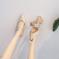Sandals 34,35,36,37,38,39,40 Superfine fiber Other / other Baotou Thick heel Middle heel (3-5cm) Summer 2020 Trochanter grace Solid color Adhesive shoes Youth (18-40 years old) rubber daily Back space Low Gang Hollow Microfiber skin Microfiber skin Roman shoes Shaving
