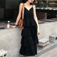 Dress Summer 2020 Black, white S,M,L,XL,2XL longuette singleton  Sleeveless commute V-neck Cake skirt 25-29 years old Retro