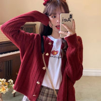 sweater Autumn 2020 Average size Off white, red, tail goods are delivered randomly Long sleeves Cardigan singleton  cotton 95% and above Crew neck commute routine Self cultivation 18-24 years old cotton Single breasted