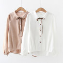 shirt White, Khaki Average size Spring 2021 other 51% (inclusive) - 70% (inclusive) Long sleeves street Regular Doll Collar Single row multi button shirt sleeve Solid color Straight cylinder BF blending