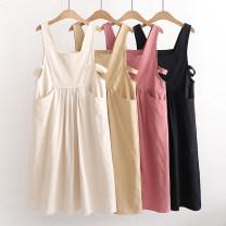 Dress Spring 2021 Black, apricot, khaki, pink Average size Sweet Solid color F 51% (inclusive) - 70% (inclusive) cotton