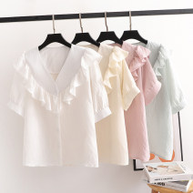 shirt White, yellow, green, pink Average size Summer 2021 other 96% and above Short sleeve Versatile Regular Single row multi button routine Straight cylinder S