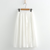skirt Summer 2021 Average size White, black Mid length dress High waist A-line skirt Solid color Type A N More than 95% other cotton