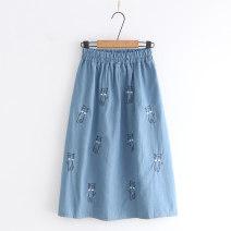 skirt Summer 2021 Average size Light blue, dark blue, denim blue Sweet A-line skirt Type A CB 71% (inclusive) - 80% (inclusive) Denim