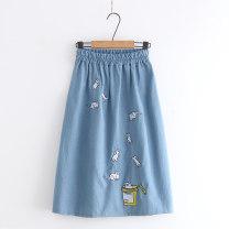 skirt Summer 2021 Average size Light blue, dark blue, denim blue Sweet A-line skirt Type A CB 71% (inclusive) - 80% (inclusive) Denim cotton