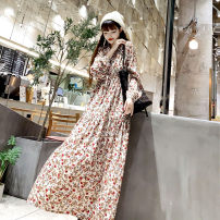 Dress Autumn 2020 Red flower S,M,L,XL,2XL longuette singleton  Long sleeves commute V-neck High waist Broken flowers Socket Big swing bishop sleeve Others 25-29 years old Type A Other / other Korean version More than 95% Chiffon