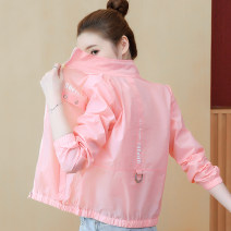 short coat Summer 2021 S,M,L,XL,2XL Light blue, pink, yellow Long sleeves routine Thin money singleton  Self cultivation commute routine stand collar zipper letter 18-24 years old 96% and above Pocket, zipper, panel, print nylon nylon