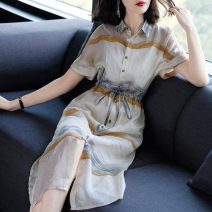 Middle aged and old women's wear Summer 2020 Apricot S,M,L,XL,2XL fashion Dress Self cultivation Two piece set Polo collar Medium length Medium length flax
