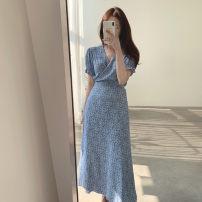 Dress Summer 2021 blue Average size longuette singleton  Short sleeve commute V-neck High waist Broken flowers A-line skirt routine 18-24 years old Type A Korean version