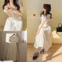 Dress Summer 2020 Apricot S,M,L Mid length dress singleton  Short sleeve commute V-neck High waist Socket pagoda sleeve Others Korean version