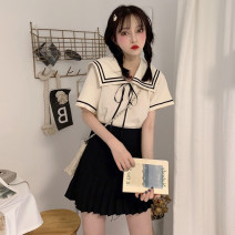 Dress Summer of 2019 Apricot Top + Black pleated skirt, apricot top, black pleated skirt S,M,L,XL Short skirt Two piece set Short sleeve commute Admiral High waist Solid color Socket Pleated skirt routine Others 18-24 years old A4247 other