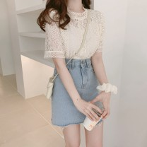 Lace / Chiffon Summer of 2019 S,M,L,XL Short sleeve Sweet Socket singleton  Straight cylinder Crew neck Solid color routine 18-24 years old Other / other Cutout, crochet cutout, button, lace 81% (inclusive) - 90% (inclusive) cotton Mori