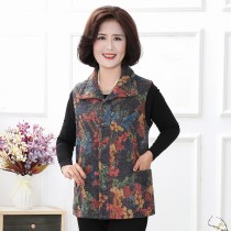 Middle aged and old women's wear Autumn of 2018 Yellow flower, safflower leisure time Vest easy singleton  Flower and bird pattern 50-59 years old