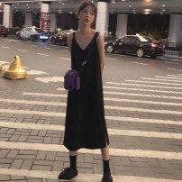 Dress Summer 2020 black S,M,L,XL Mid length dress singleton  Sleeveless commute V-neck Loose waist Solid color Socket One pace skirt camisole 18-24 years old Type H Other / other Korean version 81% (inclusive) - 90% (inclusive) brocade cotton