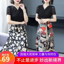 Middle aged and old women's wear Summer 2021 1, 2, 3, 4, 5 XL [about 95-115 kg recommended], 2XL [about 115-125 kg recommended], 3XL [about 125-135 kg recommended], 4XL [about 135-145 kg recommended], 5XL [about 145-155 kg recommended] fashion Dress easy singleton  Decor 40-49 years old Socket thin
