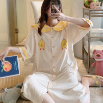 Nightdress Other / other Sweet Middle sleeve Leisure home longuette summer Cartoon animation youth Small lapel cotton printing 81% (inclusive) - 95% (inclusive) pure cotton 200g and below
