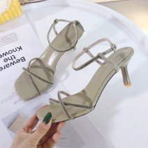 Sandals 34,35,36,37,38,39 Green, yellow, black, beige PU Other / other Barefoot Fine heel High heel (5-8cm) Summer 2020 Flat buckle Korean version Solid color Adhesive shoes Youth (18-40 years old) rubber daily Ankle strap Buckle, water drill Low Gang Hollow PU PU Flat buckle