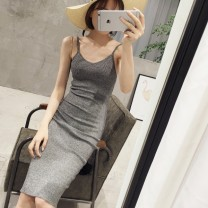 Dress Spring 2017 longuette singleton  Sleeveless commute V-neck middle-waisted Solid color Socket One pace skirt other camisole 18-24 years old Type H Korean version 81% (inclusive) - 90% (inclusive) knitting other