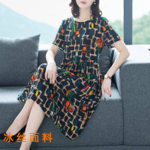 Dress Summer 2021 Picture color M (recommended 90-100 kg), l (recommended 100-110 kg), XL (recommended 110-120 kg), 2XL (recommended 120-140 kg), 3XL (recommended 140-160 kg), 4XL (recommended 160-180 kg) Mid length dress singleton  Short sleeve commute Crew neck middle-waisted lattice Socket routine