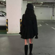 Dress Spring 2020 black Average size (160 / 84A) Short skirt singleton  Long sleeves commute V-neck High waist Solid color Socket A-line skirt bishop sleeve Others 18-24 years old Type A Korean version Pleating, stitching B101E506 30% and below other
