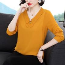 Lace / Chiffon Spring 2021 yellow M,L,XL,2XL,3XL,4XL Long sleeves commute Socket easy Regular V-neck Solid color routine 40-49 years old Splicing, three-dimensional decoration Korean version 96% and above