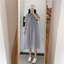 Women's large Summer 2021 Grey two piece set Large XL, large 2XL, large 3XL, large 4XL, large 5XL Dress Two piece set commute easy moderate Socket Short sleeve other Korean version stand collar other routine Button Medium length bow