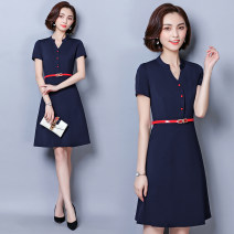 Dress Summer 2021 Navy, black, navy S,M,L,XL,2XL,3XL Mid length dress singleton  Short sleeve commute V-neck High waist Solid color Socket A-line skirt routine Others 25-29 years old Type A Ol style Pockets, panels, buttons 91% (inclusive) - 95% (inclusive) other nylon