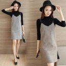 Dress Autumn of 2018 Khaki Skirt + sweater, light grey skirt + sweater, Khaki Skirt, light grey skirt, sweater XS,S,M,L,XL Middle-skirt Two piece set Long sleeves commute High collar Abstract pattern Socket One pace skirt routine Others 25-29 years old Type H lady straps Wool other