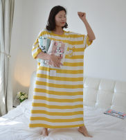 Nightdress Other / other Yellow, pink, green Loose oversize Simplicity Short sleeve Leisure home longuette summer other youth Crew neck cotton printing More than 95% Knitted cotton fabric
