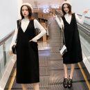 Dress Other Picture color M,L,XL,XXL Versatile Long sleeves Medium length autumn Crew neck Solid color Space cotton 6602#