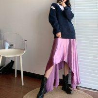 skirt Autumn of 2018 S, M Sky blue, light purple
