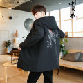 Jacket Other / other other M,L,XL,2XL,3XL,4XL,5XL routine easy Other leisure spring Polyester 100% Long sleeves Wear out Hood Chinese style Large size Medium length China single button 2021 Cloth hem No iron treatment Loose cuff Animal design polyester fiber Embroidery other