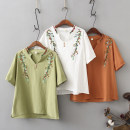 Middle aged and old women's wear Summer 2020 White, orange, army green XL [120-140 Jin], 2XL [140-160 Jin], 3XL [160-180 Jin], 4XL [180-200 Jin] commute T-shirt easy singleton  Flower and bird pattern Socket thin V-neck Medium length routine Embroidery pure cotton 3 / 5 sleeve Korean version