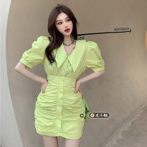 Dress Summer 2021 Yellow dress, white dress, blue dress M, L Short skirt singleton  Short sleeve commute V-neck High waist Solid color Single breasted One pace skirt puff sleeve Others 18-24 years old Type A Korean version 30% and below other other