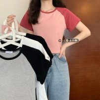 T-shirt Gray, white, black, pink Average size Summer 2021 Short sleeve Crew neck Straight cylinder have cash less than that is registered in the accounts routine commute other 30% and below 18-24 years old Simplicity youth Color matching