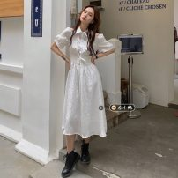 Dress Summer 2021 white S, M Mid length dress singleton  Short sleeve commute Polo collar High waist Solid color Socket A-line skirt routine Others 18-24 years old Type A Korean version 30% and below other other