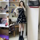 Dress Spring 2021 White with long sleeves and suspender skirt Average size Middle-skirt singleton  Sleeveless Sweet V-neck High waist Broken flowers A-line skirt camisole 18-24 years old Type A