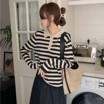 Wool knitwear Spring 2021 S. M, l, average size Skirt 9151, top 7089# Long sleeves singleton  Socket other 30% and below Regular Thin money commute Self cultivation routine stripe Single breasted Retro 18-24 years old