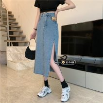 skirt Summer 2021 S,M,L,XL Light blue, black Mid length dress commute High waist A-line skirt Solid color Type A 18-24 years old Korean version