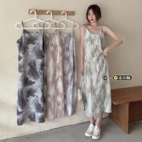 Dress Summer 2021 Khaki, grey, green, black Average size Mid length dress singleton  Sleeveless commute other Loose waist Decor Socket other other camisole 18-24 years old Type H Korean version tie-dyed