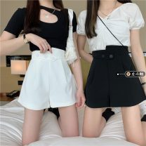 Casual pants White, black S,M,L Summer 2021 shorts Wide leg pants High waist commute routine 18-24 years old 30% and below other Korean version pocket