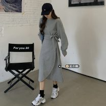 Dress Spring 2021 Gray, black Average size Mid length dress singleton  Long sleeves commute Crew neck Solid color Socket A-line skirt routine 18-24 years old Type A Korean version 30% and below other