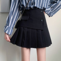 skirt Spring 2021 S,M,L black Short skirt commute High waist Pleated skirt Solid color Type A 18-24 years old Korean version