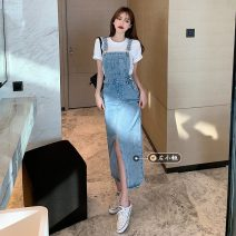 Dress Spring 2021 Blue, black S,M,L Mid length dress singleton  Sleeveless commute High waist Solid color One pace skirt straps 18-24 years old Type A Korean version